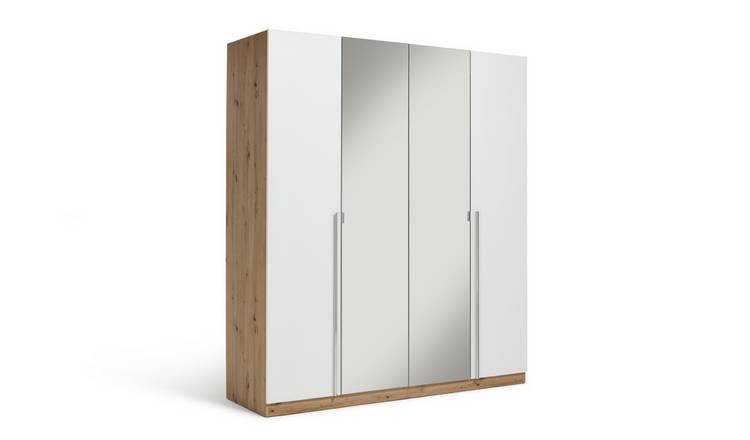 Habitat Munich 4 Door 2 Mirror Wardrobe-White /Oak Effect