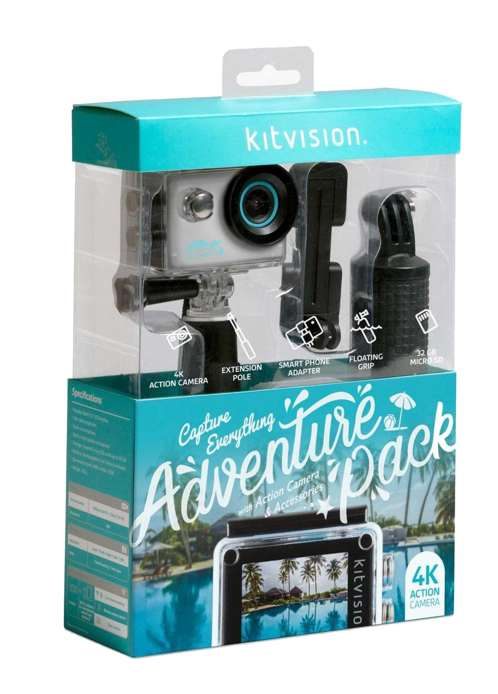 Kitvision 4K Adventure Pack Action Camera with Wi-Fi