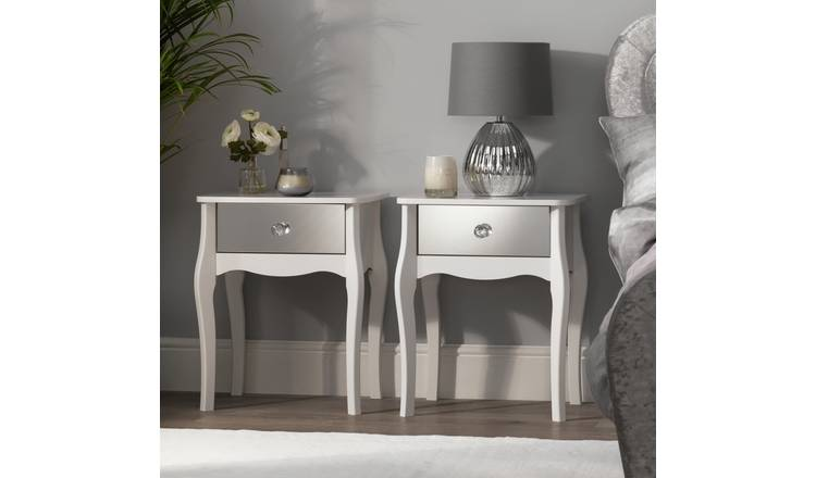 Argos Home Amelie 2 Mirrored Bedside Tables Set - White