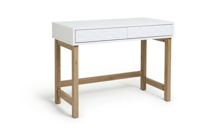 Habitat Zander 2 Drawer Desk - White Two Tone