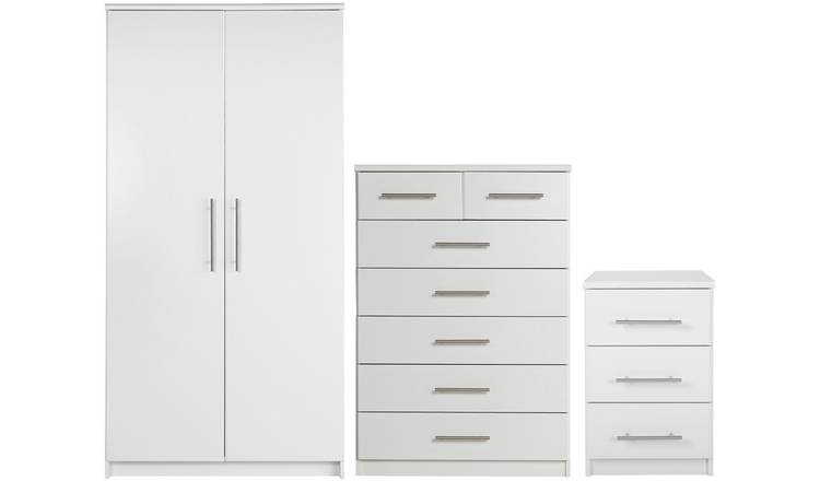 Argos Home Normandy 3 Piece 2 Door Wardrobe Set - White
