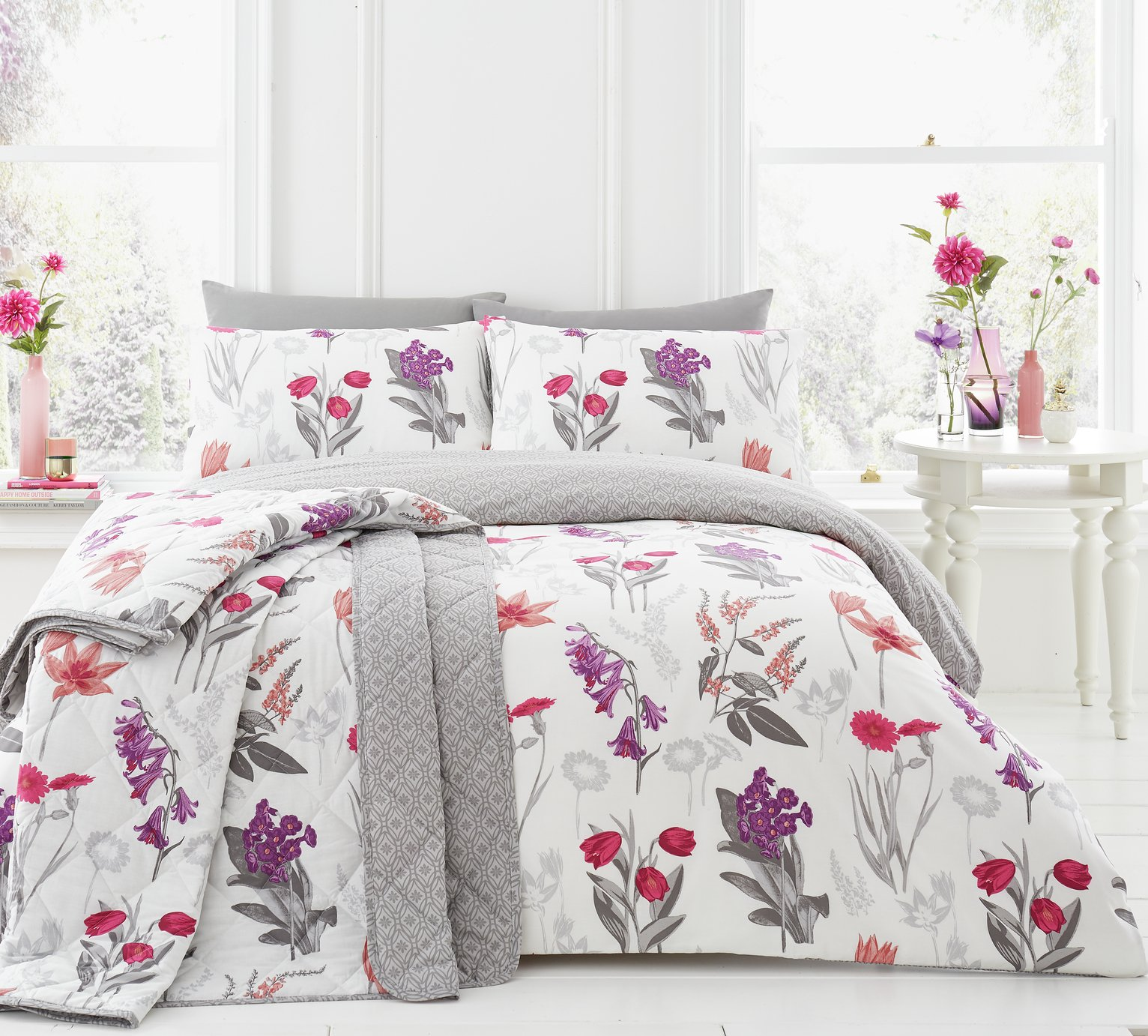 Dreams N Drapes Ingrid Blush Duvet Cover Set - Kingsize