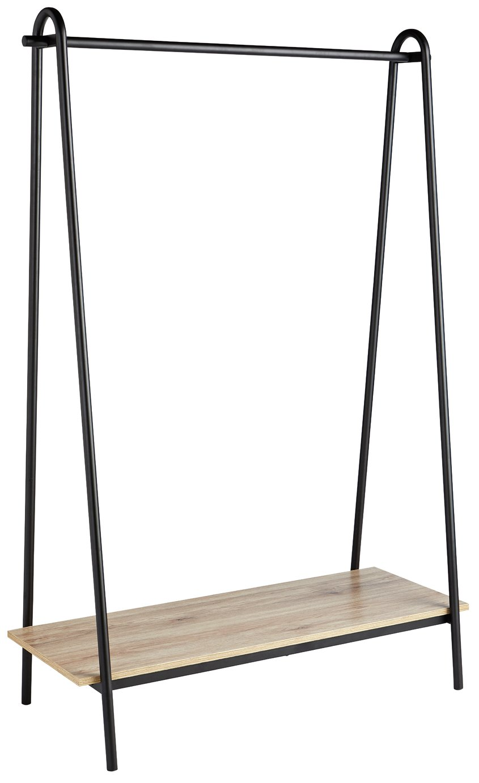 Argos Home Clothes Rail with Wood Effect Shelf - Black