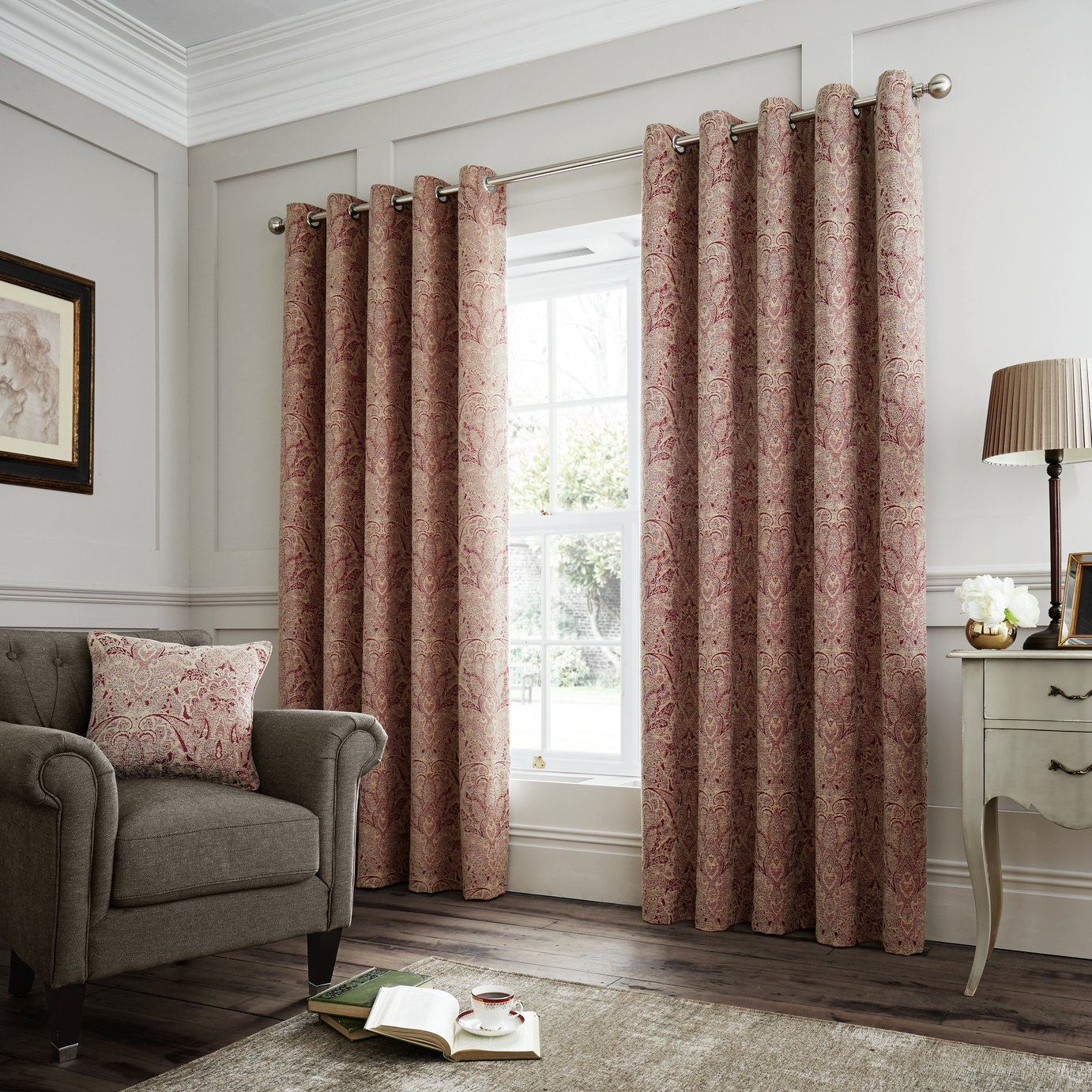 Curtina Whitcliffe Lined Eyelet Curtains - 168x137cm - Multi