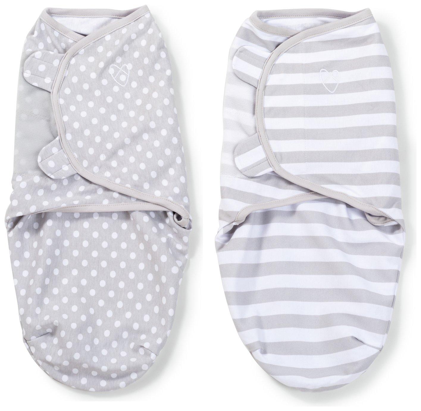 Image of Summer Infant SwaddleMe Grey, Dot & Stripes Swaddle - 2 Pack