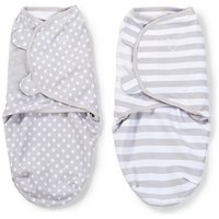 Summer Infant SwaddleMe Grey, Dot & Stripes Swaddle - 2 Pack