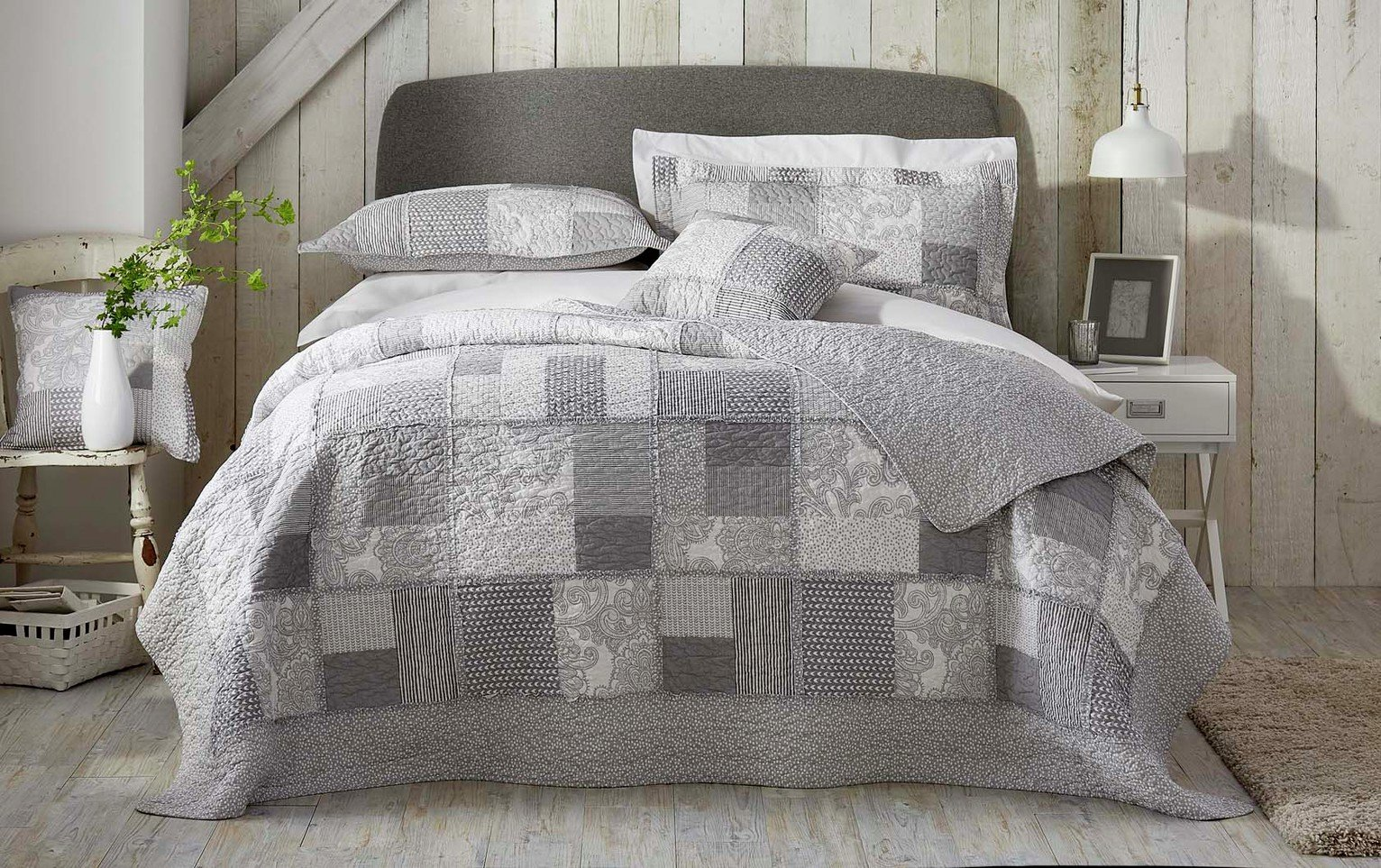Image of Appletree Satira Bedspread - Grey