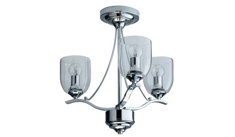 Argos Home Fae 3 Light Glass Ceiling Fitting - Chrome