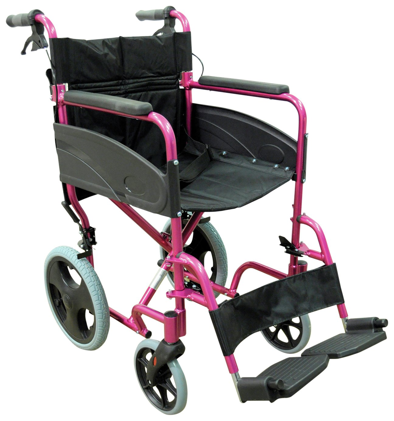 Aidapt Deluxe Transport Aluminium Wheelchair - Pink