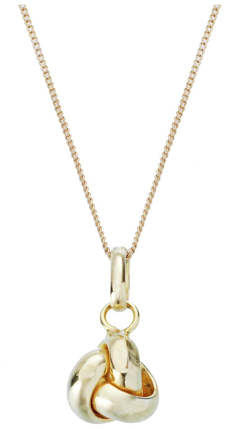 Revere 9ct Gold Knot Pendant 18 Inch Necklace
