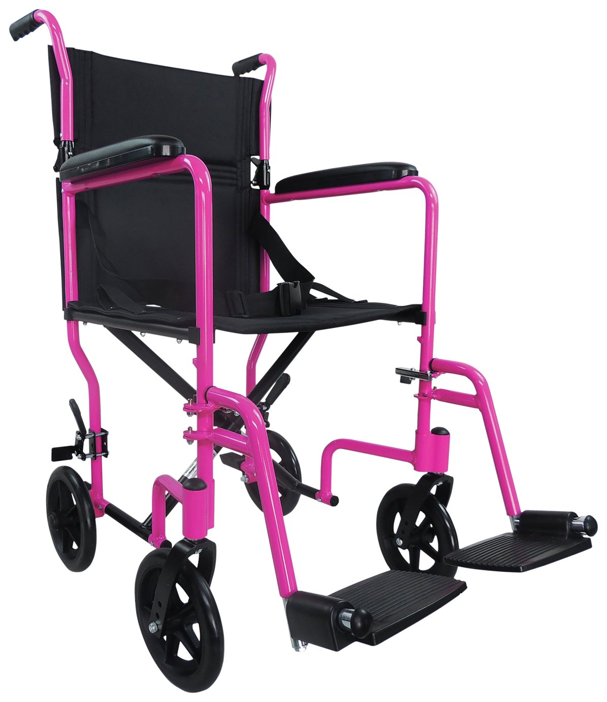 Aidapt Transport Aluminium Wheelchair - Pink