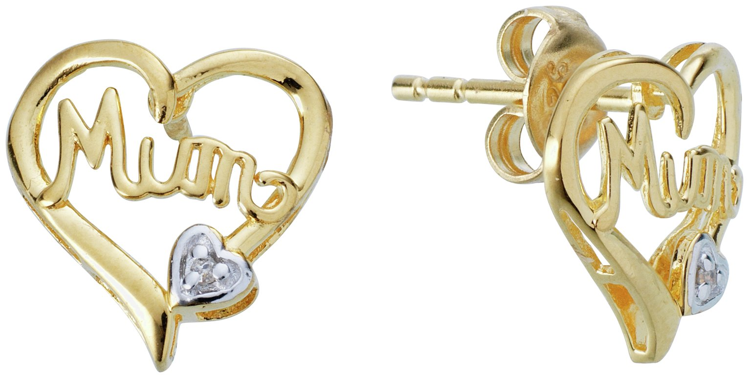 Moon & Back Gold Plated Diamond Accent Mum Heart Earrings