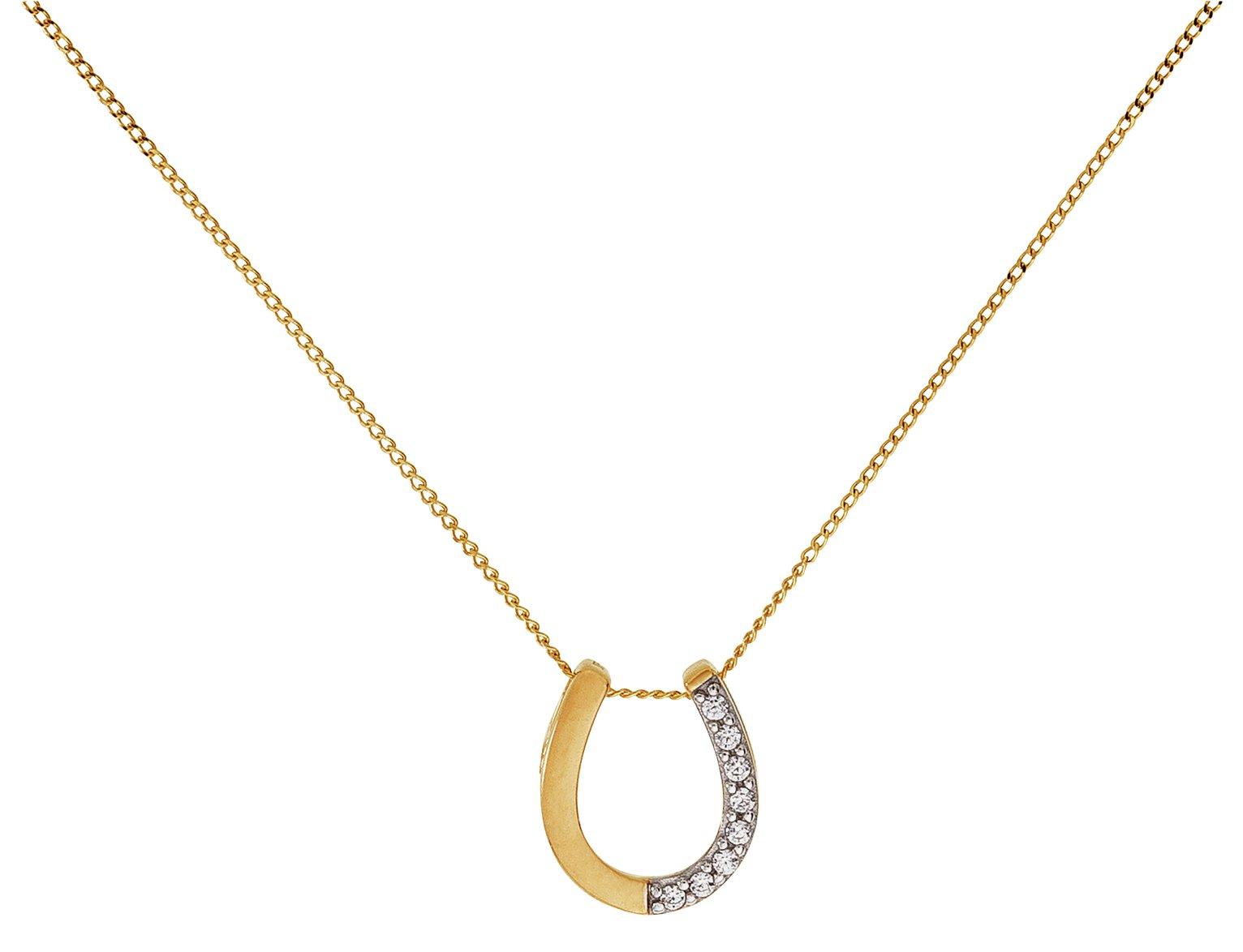 Image of Revere 9ct Gold Cubic Zirconia Horseshoe Pendant