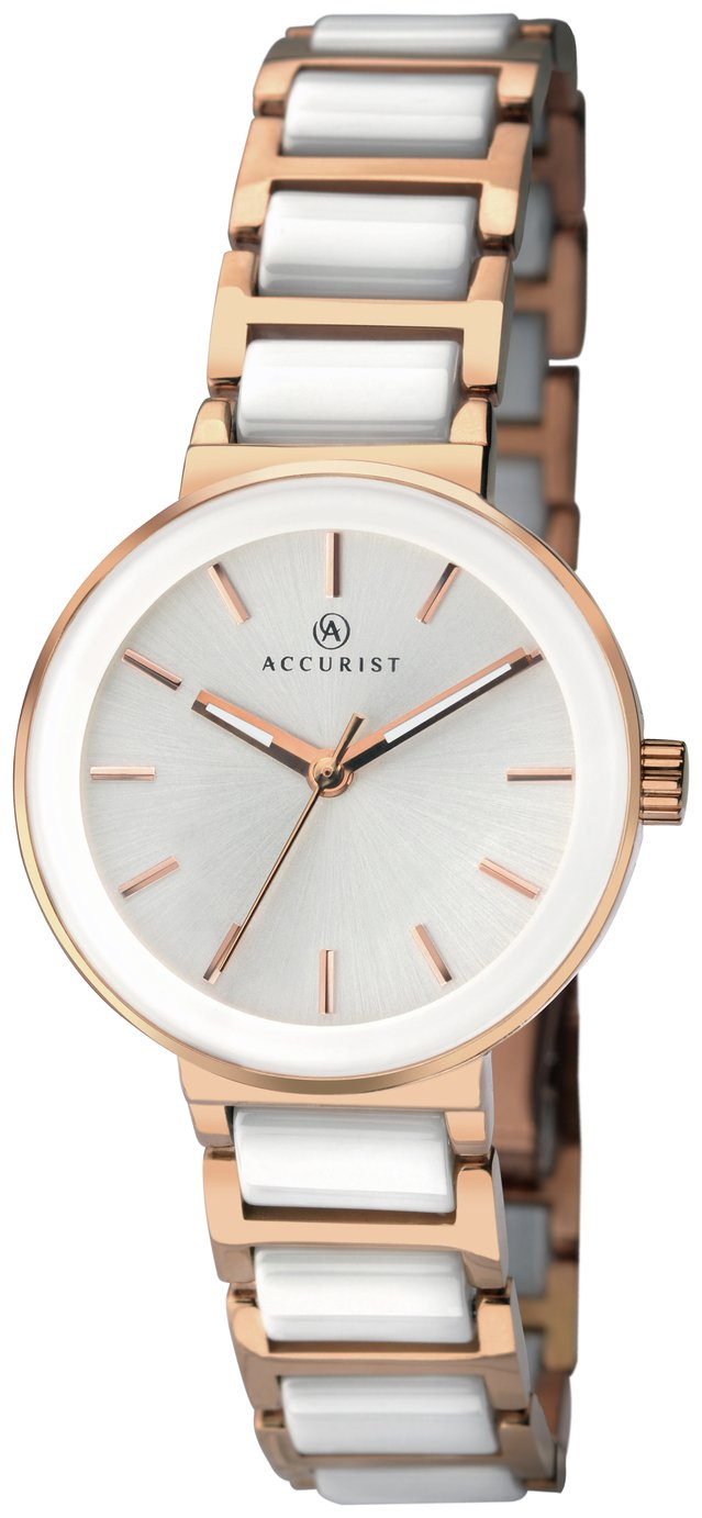 Accurist Ladies' White Ceramic and Rose Gold Plated Watch
