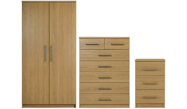 Argos Home Normandy 3 Piece 2 Door Wardrobe Set - Oak Effect