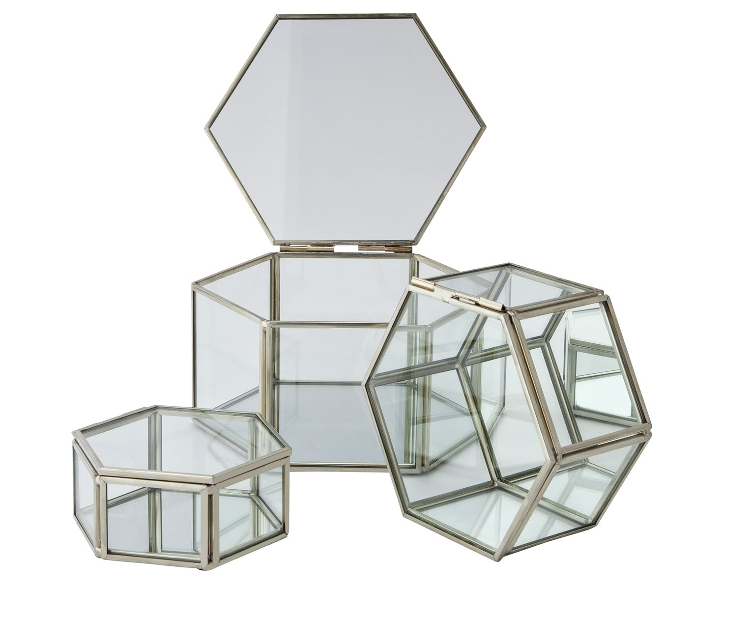 Silver Edged Glass Trinket Boxes - Set of 3