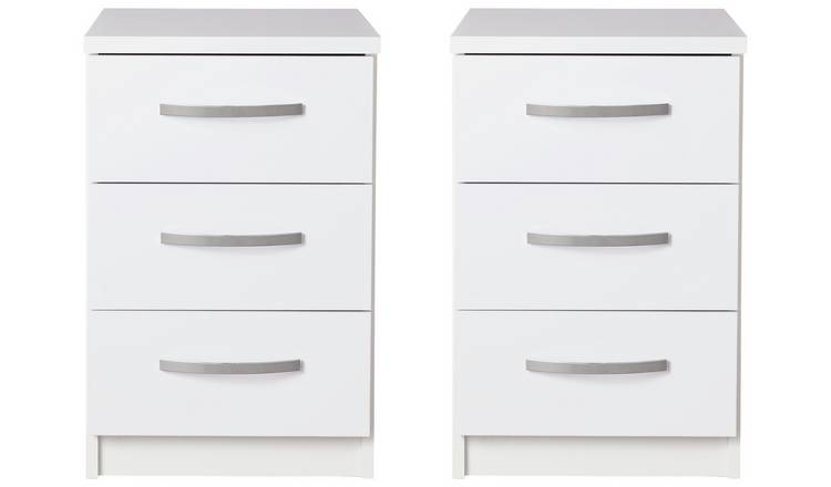Argos Home Hallingford Gloss 2 Bedside Tables Set - White