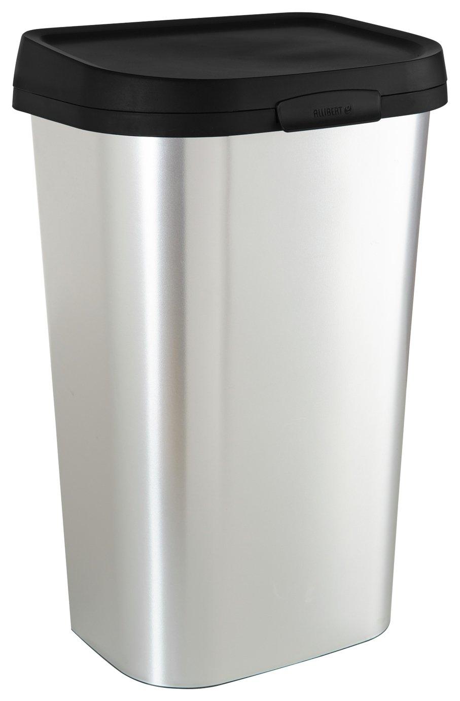 Curver Mistral 50 Litre Lift Top Bin - Silver