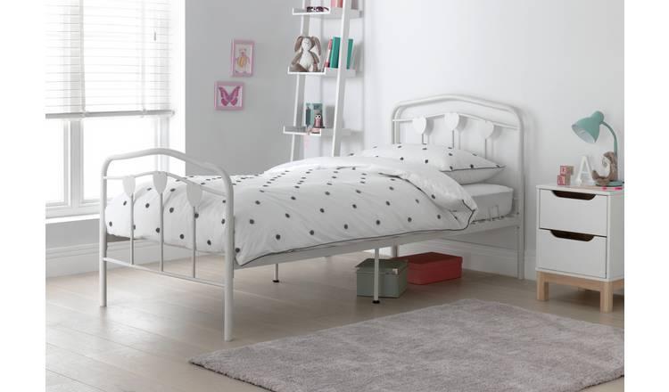 Buy Argos Home Hearts Single Metal Bed Frame White Kids Beds Argos