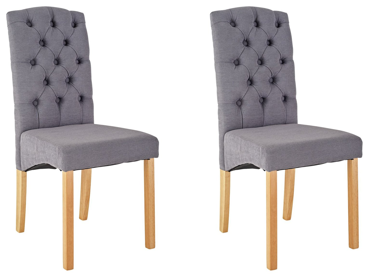 Image of Collection Aurelia Pair of Fabric Chairs - Grey