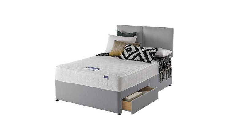 Silentnight Hatfield Memory 2 Drawer Double Divan Bed - Grey