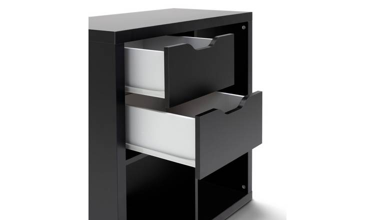 Habitat Squares Plus 2 Storage Drawers - Black