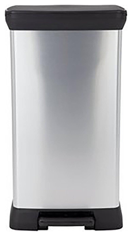 Curver 50 Litre Deco Pedal Bin - Silver