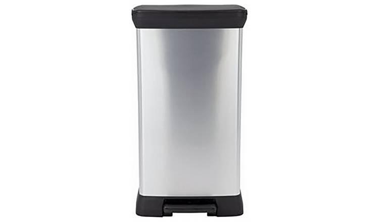 Curver Decobin Pedaal 30l.Buy Curver 50 Litre Deco Pedal Bin Silver Kitchen Bins Argos