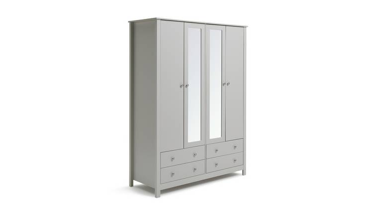 Habitat Osaka 4 Door 4 Drawer Mirror Wardrobe - Grey