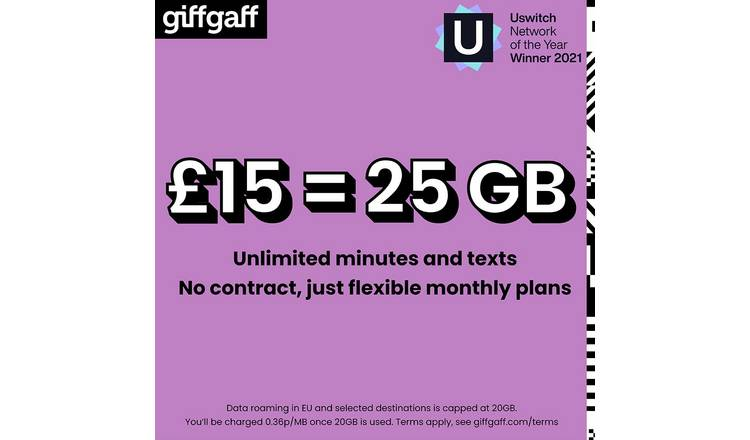 Giffgaff £15 Goodybag Pay As You Go SIM Card