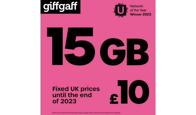 Buy Giffgaff £10 Goodybag Pay As You Go SIM Card | Mobile phone SIM cards |  Argos