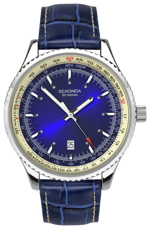 Sekonda Men's Blue Leather Strap Watch