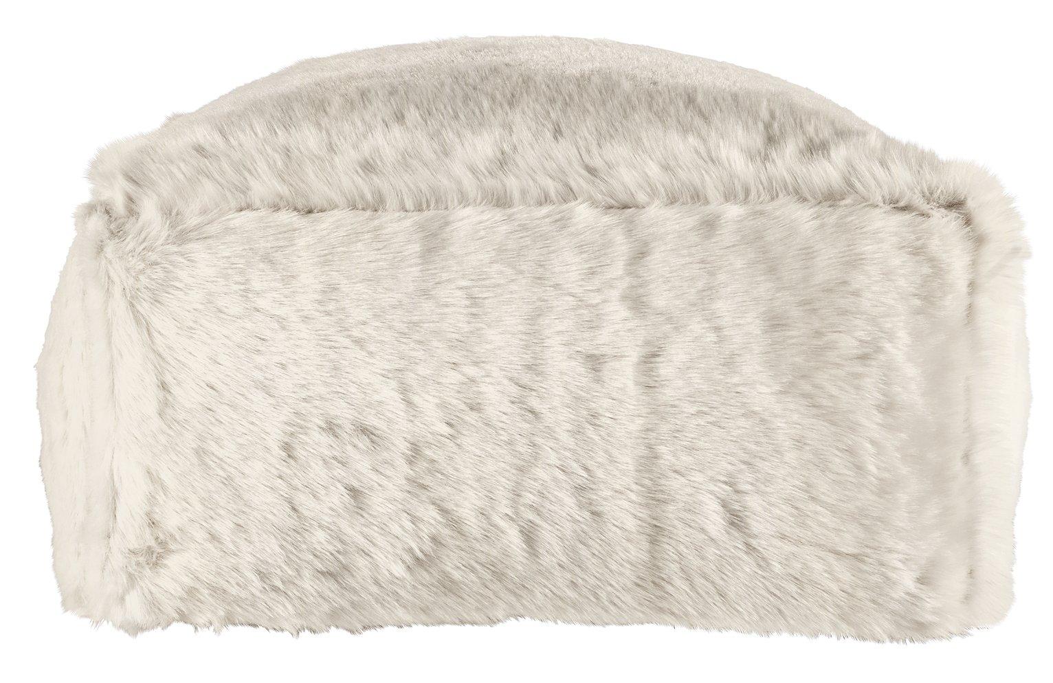 Argos Home Faux Fur Slab Beanbag - Cream
