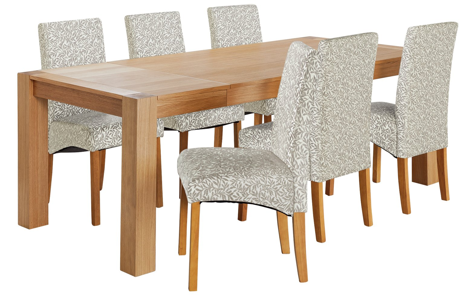 Argos Home Alston Oak Veneer Table & 6 Chairs - Floral
