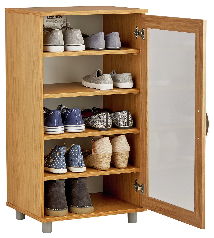 Argos Home Contemporary Shoe Storage Cabinet - Oak Effect