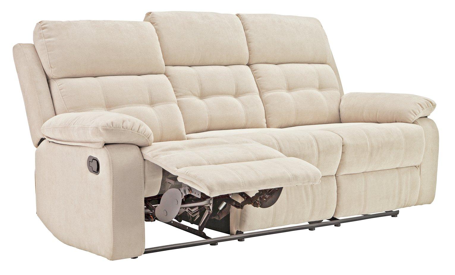 Argos Home June 3 Seater Fabric Recliner Sofa - Natural