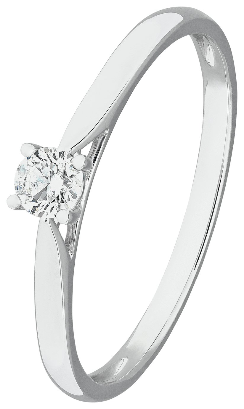 Revere 9ct White Gold 0.15ct Diamond Solitaire Ring - N