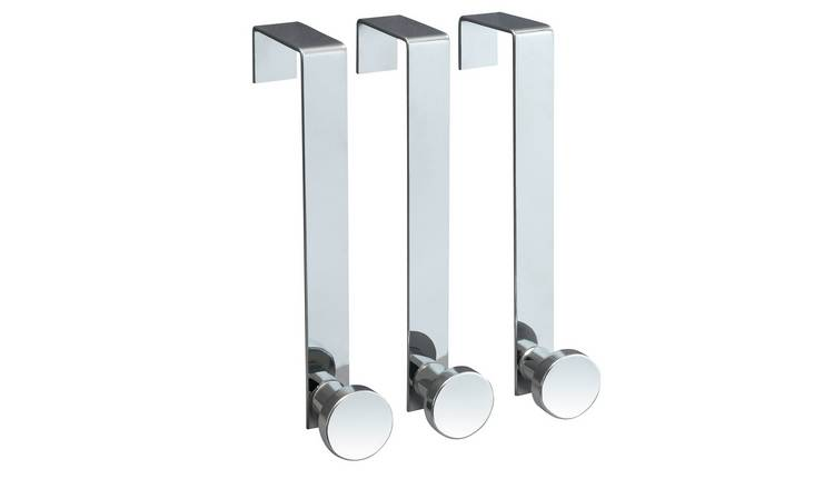 Argos Home Pack of 3 over the door hooks - Stainless Steel