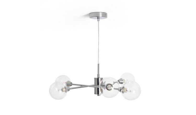 Habitat Glam 6 Light Glass Ceiling Fitting - Chrome