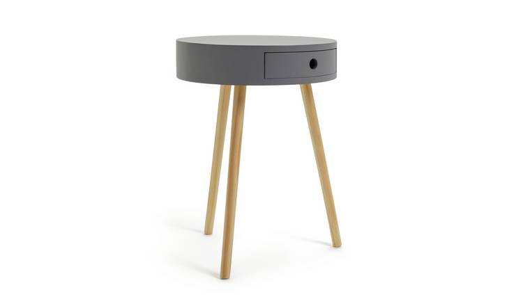 Habitat Otto 1 Drawer Round Bedside Table - Grey