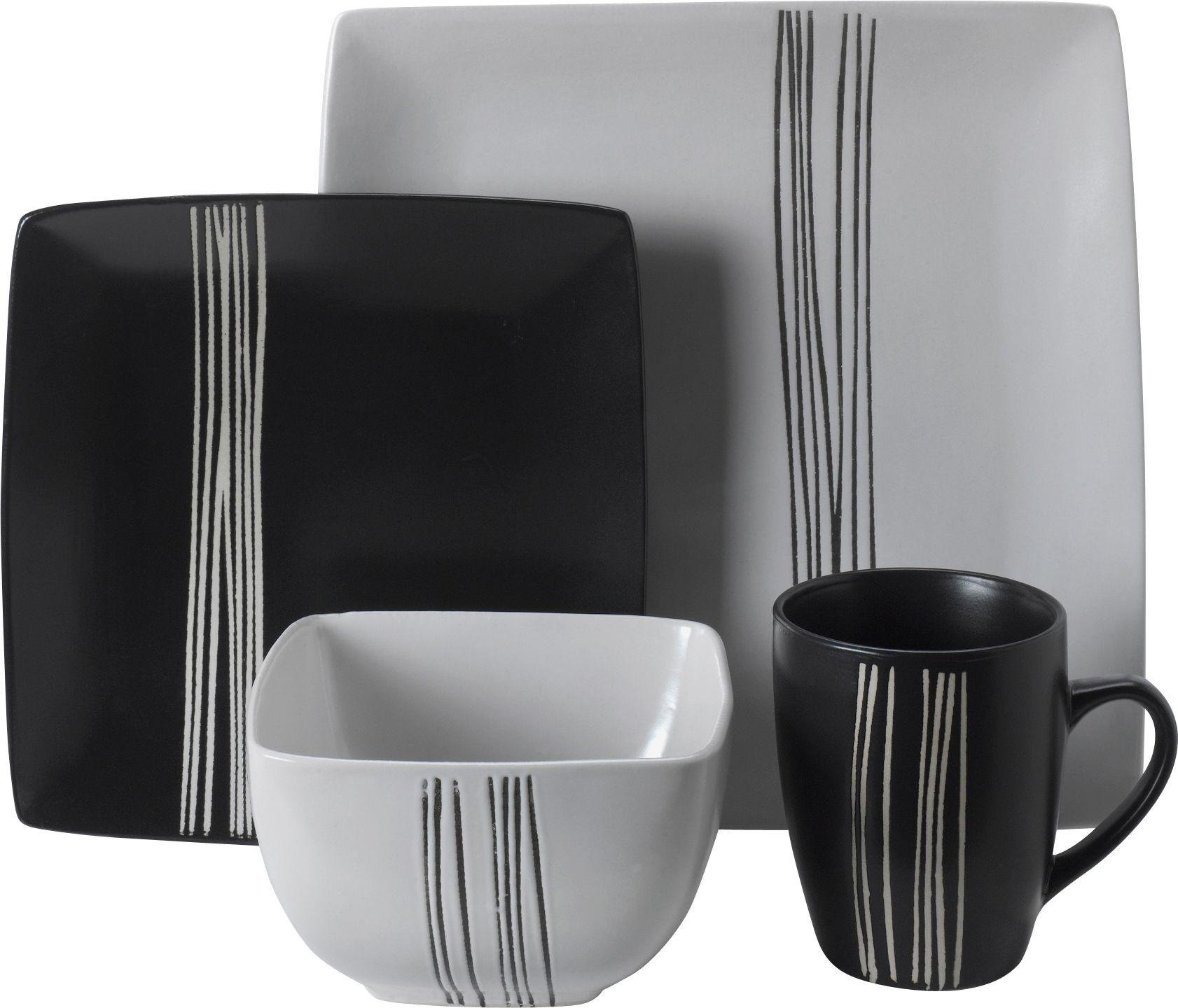 HOME - 16 Piece Scratch Stoneware Dinner Set - Black and