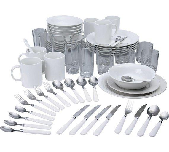 Buy home essentials 60 pc stoneware dinner starter set for Kuchen starterset