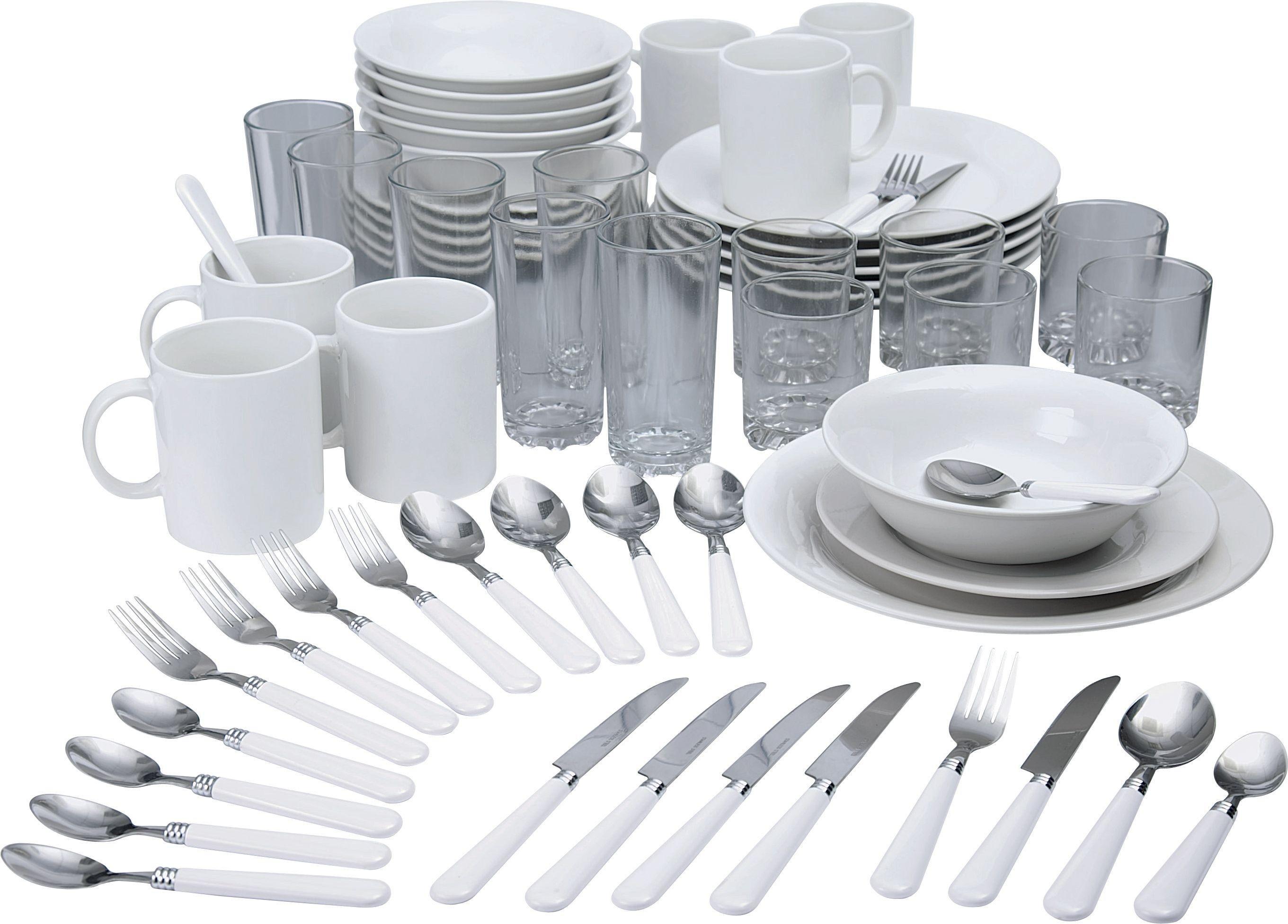 HOME Essentials 60 Pc Stoneware Dinner Starter Set   White