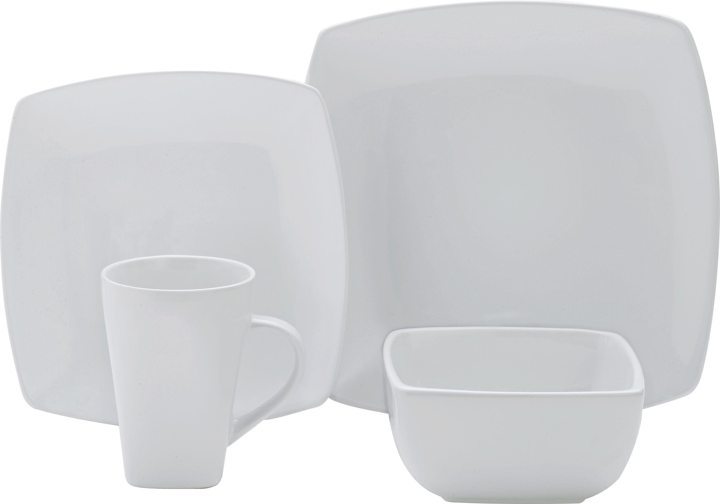 Image of Collection - 16 Piece Bosa Square Stoneware Dinner Set - White