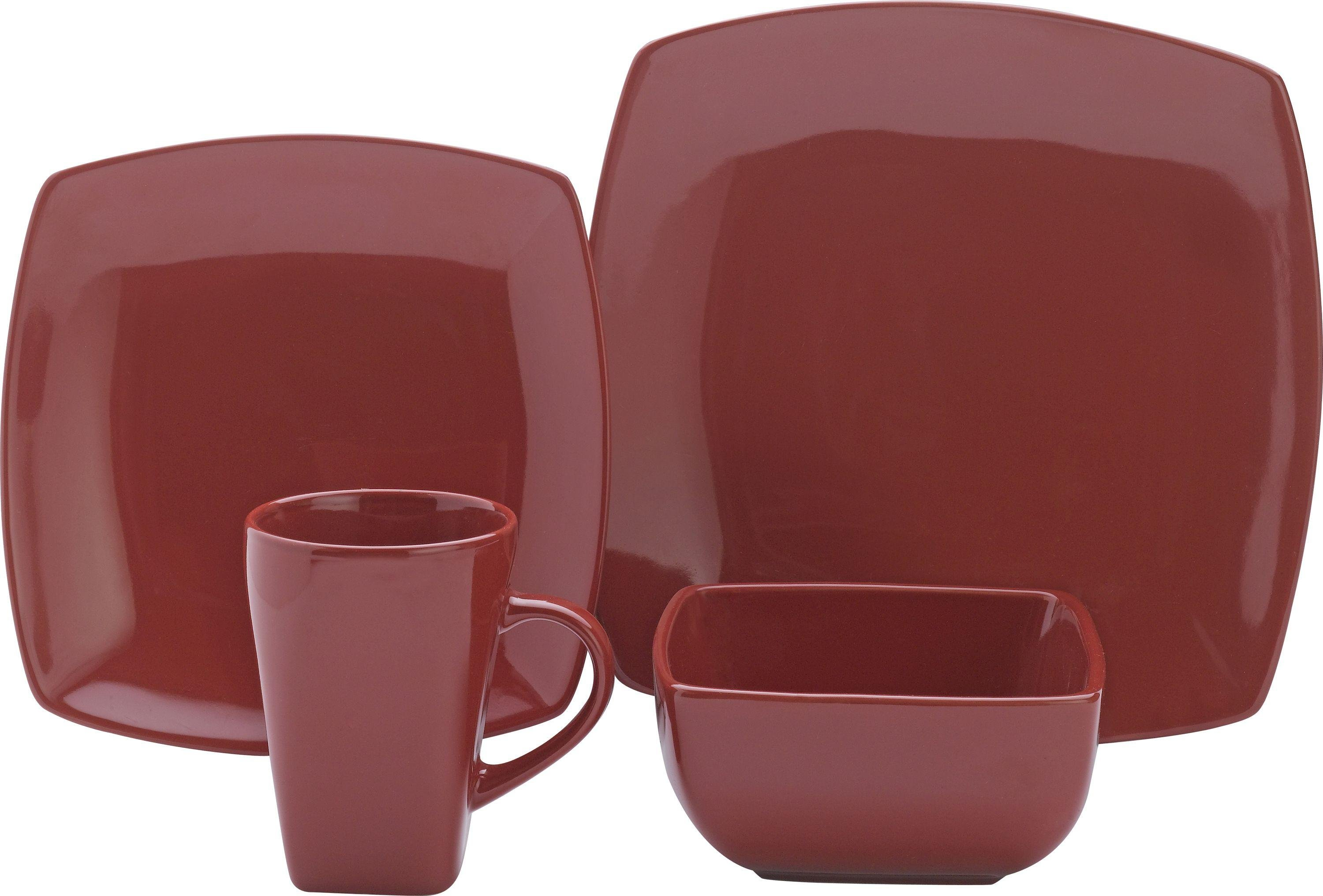 Collection - 16 Piece Bosa Square Stoneware Dinner Set - Red