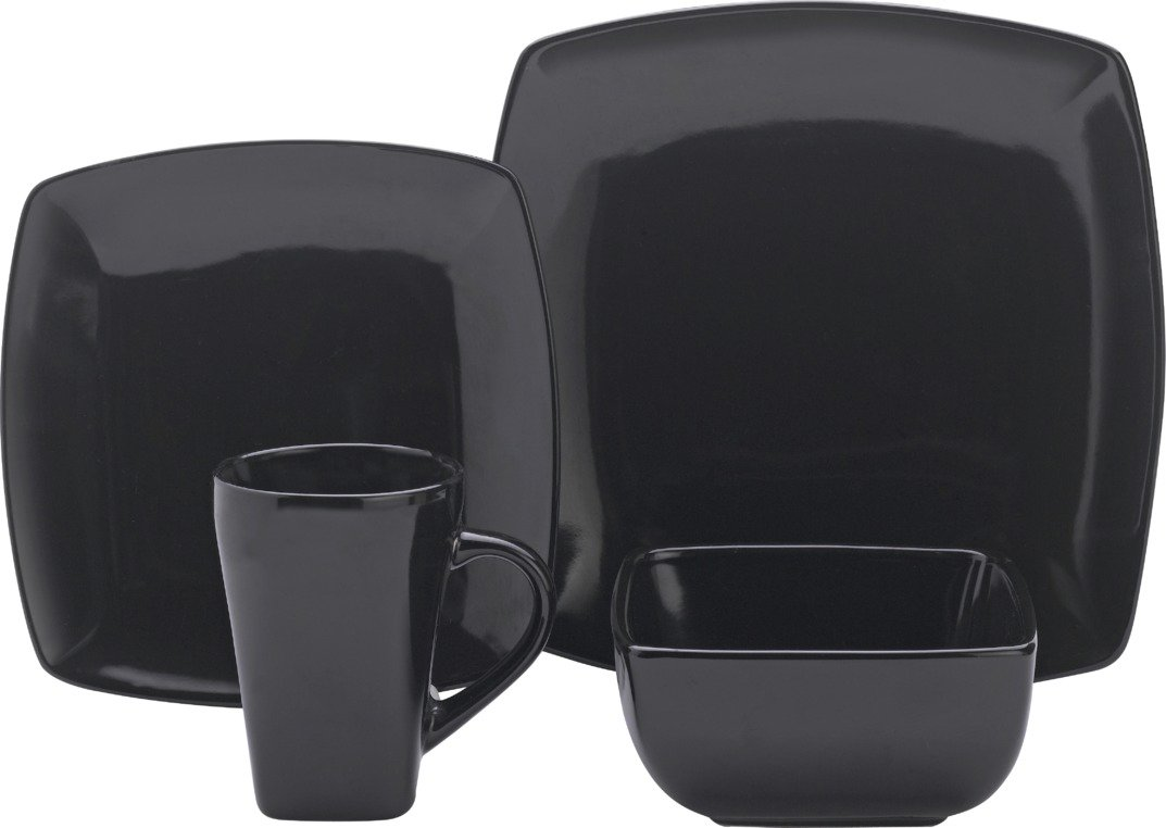 Image of Collection - 16 Piece Bosa Square Stoneware Dinner Set - Black