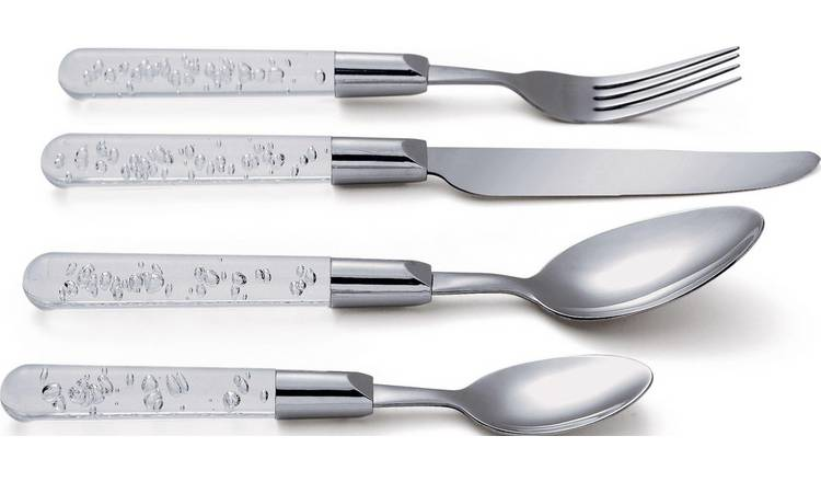 Buy Argos Home 16 Piece Clear Bubble Stainless Steel Cutlery Set | Cutlery | Argos