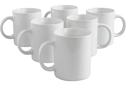 Simple Value Set of 6 Porcelain Mug Set - White