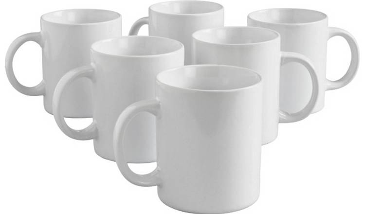 Argos Home Set of 6 Porcelain Mugs - White