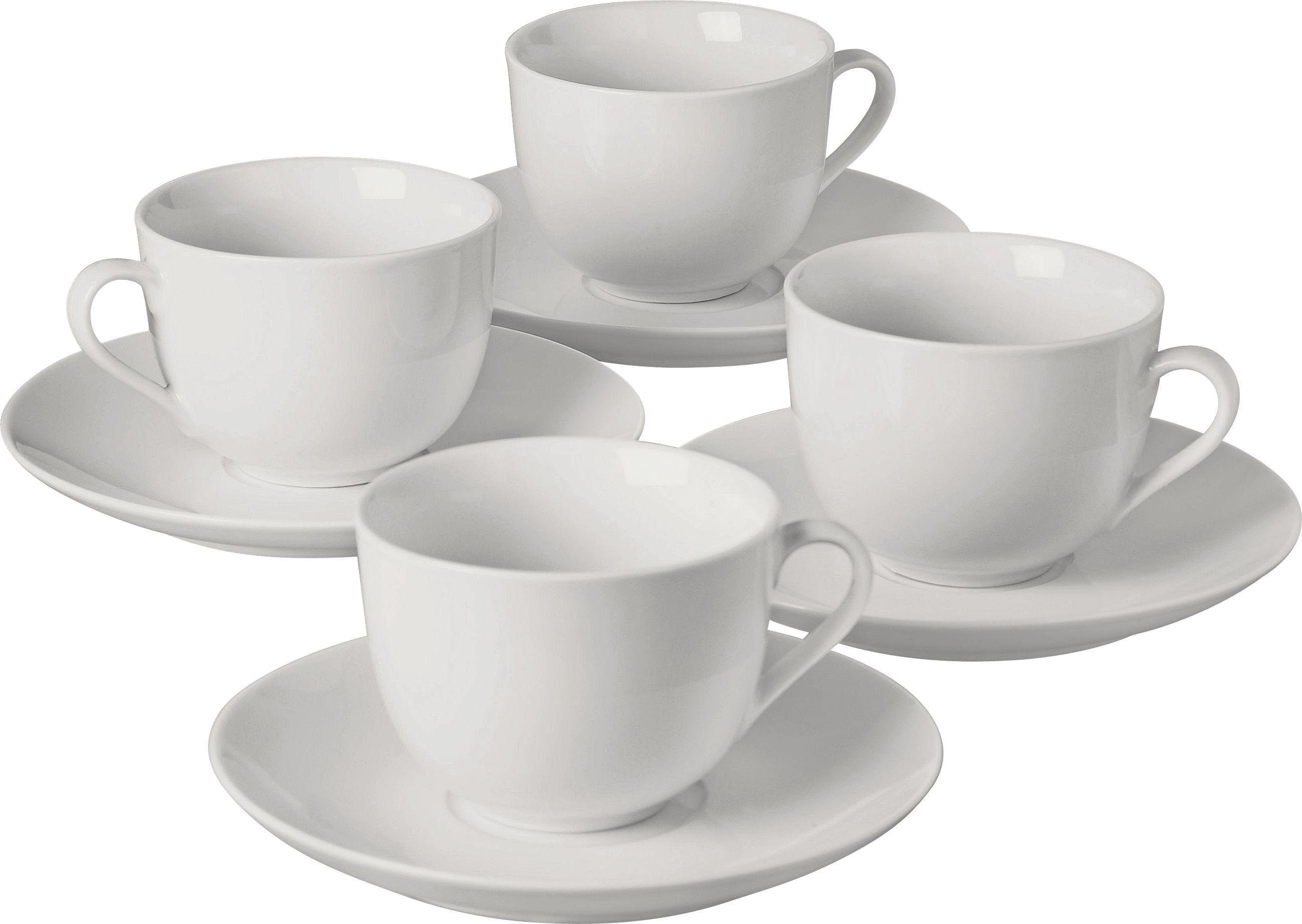 Argos Home 4 Piece Porcelain Tea Cups & Saucers Set - White